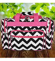 "17"" Black Chevron Duffle Bag with Hot Pink Trim #ZIB417-HPINK"