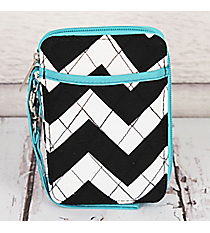 Black Chevron with Aqua Trim Quilted Wristlet #ZIB495-AQUA
