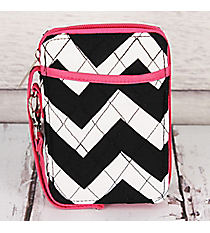 Black Chevron with Hot Pink Trim Quilted Wristlet #ZIB495-H/PINK