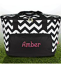 Black Chevron Cooler Tote with Lid #ZIB89-BLACK