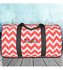 "21"" Coral Chevron Quilted Duffle Bag with Gray Trim #ZIC2626-CORAL"