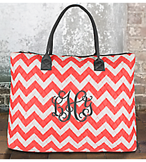 Coral Chevron Quilted Large Shoulder Tote with Gray Trim #ZIC3907-CORAL
