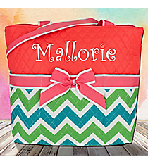Lime and Turquoise Chevron Quilted Diaper Bag with Coral Trim #ZID2121-CORAL