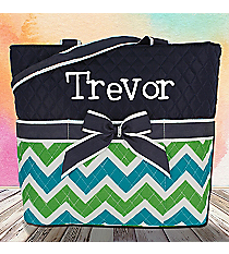 Lime and Turquoise Chevron Quilted Diaper Bag with Navy Trim #ZID2121-NAVY