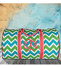 "21"" Lime and Turquoise Chevron Quilted Duffle Bag with Coral Trim #ZID2626-CORAL"