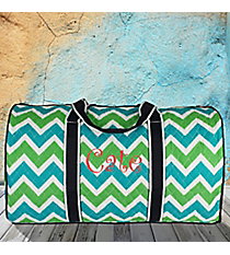 "21"" Lime and Turquoise Chevron Quilted Duffle Bag with Navy Trim #ZID2626-NAVY"