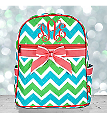 Lime and Turquoise Chevron Quilted Backpack with Coral Trim #ZID2828-CORAL