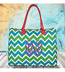 Lime and Turquoise Chevron Quilted Large Shoulder Tote with Coral Trim #ZID3907-CORAL