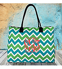 Lime and Turquoise Chevron Quilted Large Shoulder Tote with Navy Trim #ZID3907-NAVY