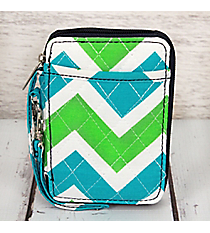 Lime and Turquoise Chevron with Navy Trim Quilted Wristlet #ZID495-NAVY