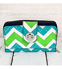Lime and Turquoise Chevron with Navy Trim Quilted Organizer Clutch Wallet #ZID517-NAVY