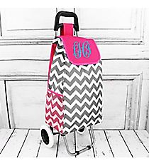 Gray Chevron Rolling Shopper Tote with Hot Pink #20003ZIG-HPINK