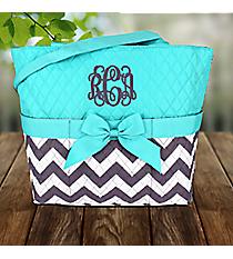 Gray Chevron Quilted Diaper Bag with Aqua Trim #ZIG2121-AQUA
