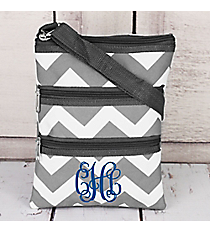 Gray Chevron Crossbody Bag with Gray Trim #ZIG231-GRAY