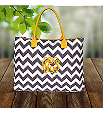 Gray Chevron Quilted Large Shoulder Tote with Yellow Trim #ZIG3907-YELLOW