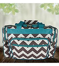 "17"" Gray Chevron Duffle Bag with Aqua Trim #ZIG417-AQUA"