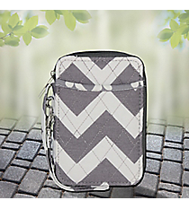 Gray Chevron with Gray Trim Quilted Wristlet #ZIG495-GRAY