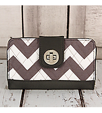 Gray Chevron with Gray Trim Quilted Organizer Clutch Wallet #ZIG517-GRAY