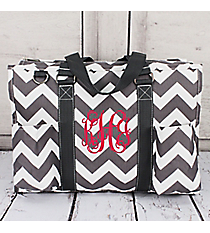 Gray Chevron Utility Tote with Gray Trim #ZIG731-GRAY