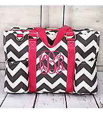 Gray Chevron Utility Tote with Hot Pink Trim #ZIG731-HPINK