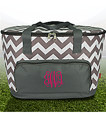 Gray Chevron Cooler Tote with Lid #ZIG89-GRAY