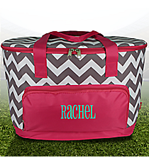 Gray Chevron and Hot Pink Cooler Tote with Lid #ZIG89-HPINK
