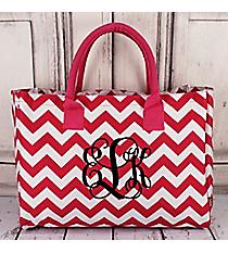 Hot Pink Chevron Wide Tote Bag #ZIH581-HPINK