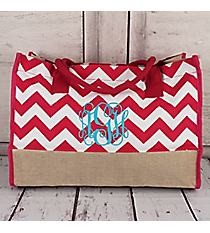 Hot Pink Chevron and Jute Box Tote #ZIH672-H/PINK