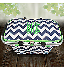 Navy Chevron with Lime Trim Insulated Market Basket with Lid #ZIM658-NAVY/LM
