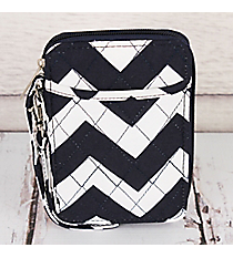 Navy Chevron Quilted Wristlet #ZIN495-NAVY