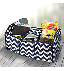 Navy Chevron Utility Storage Tote with Insulated Bag #ZIN516-NAVY