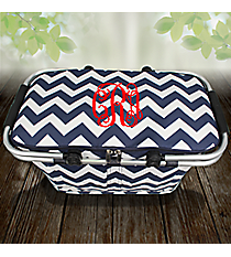 Navy Chevron Collapsible Insulated Market Basket with Lid #ZIN658-NAVY