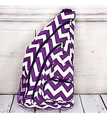 Purple Chevron Sling Backpack #ZIP736-PURPLE