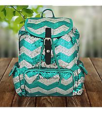 Aqua Sequined Chevron Backpack #ZIQ2929-AQUA