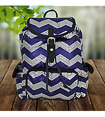 Navy Blue Sequined Chevron Backpack #ZIQ2929-NAVY