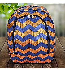 Navy and Orange Sequined Chevron Large Backpack #ZIQ403-NAVY/OR