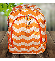 Orange Sequined Chevron Large Backpack #ZIQ403-ORANGE