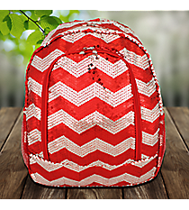 Red Sequined Chevron Large Backpack #ZIQ403-RED