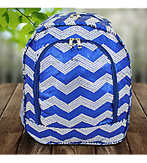 Royal Blue Sequined Chevron Large Backpack #ZIQ403-ROY/NAVY