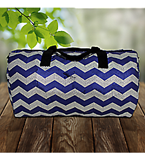 "21"" Navy Blue Sequined Chevron Duffle Bag #ZIQ592-NAVY"