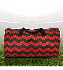 """21"""" Red and Black Sequined Chevron Duffle Bag #ZIQ592-RED/BK"""