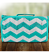 Aqua Sequined Chevron Roll Up Cosmetic Bag #ZIQ729-AQUA
