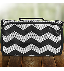 Black Sequined Chevron Roll Up Cosmetic Bag #ZIQ729-BLACK
