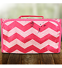 Hot Pink Sequined Chevron Roll Up Cosmetic Bag #ZIQ729-HPINK