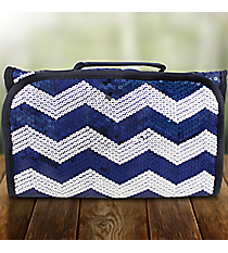 Navy Sequined Chevron Roll Up Cosmetic Bag #ZIQ729-NAVY