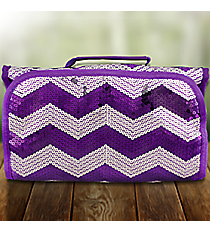 Purple Sequined Chevron Roll Up Cosmetic Bag #ZIQ729-PURPLE