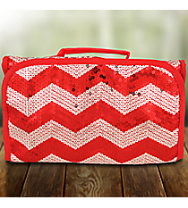 Red Sequined Chevron Roll Up Cosmetic Bag #ZIQ729-RED