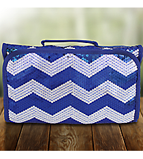 Royal Sequined Chevron Roll Up Cosmetic Bag #ZIQ729-ROYAL