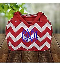 Red Chevron Insulated Bowler Style Lunch Bag #ZIR255-RED