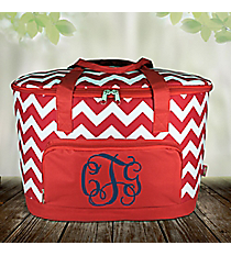 Red Chevron Cooler Tote with Lid #ZIR89-RED